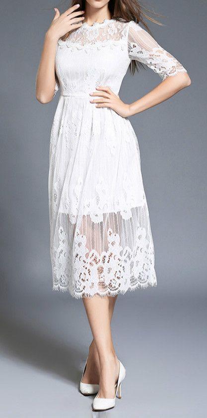 Elegant Half Sleeve Midi Lace Dress - AZBRO.com