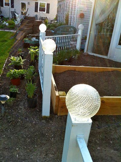 Ann Elias Fence Post Lights From Recycled Glass Globes. Add Solar Lights