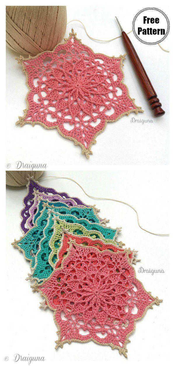 Flower Coaster Free Crochet Pattern #crochetflowers
