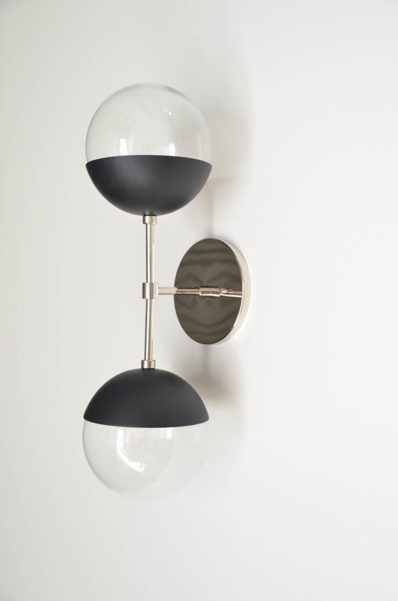 Modern Brass Light - Duel modern Black + nickel wall sconce with