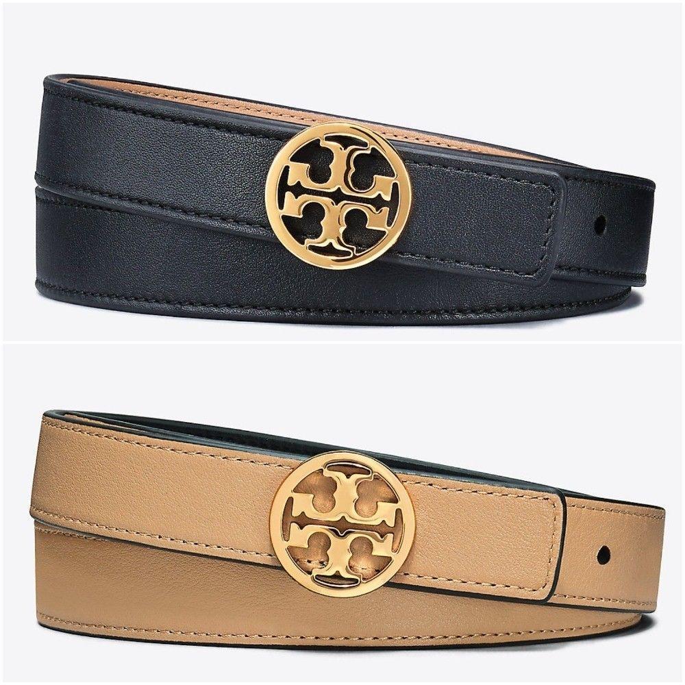 "Tory Burch Logo Belt reversible 1/"" Tory Black//cardamon leather size Medium"
