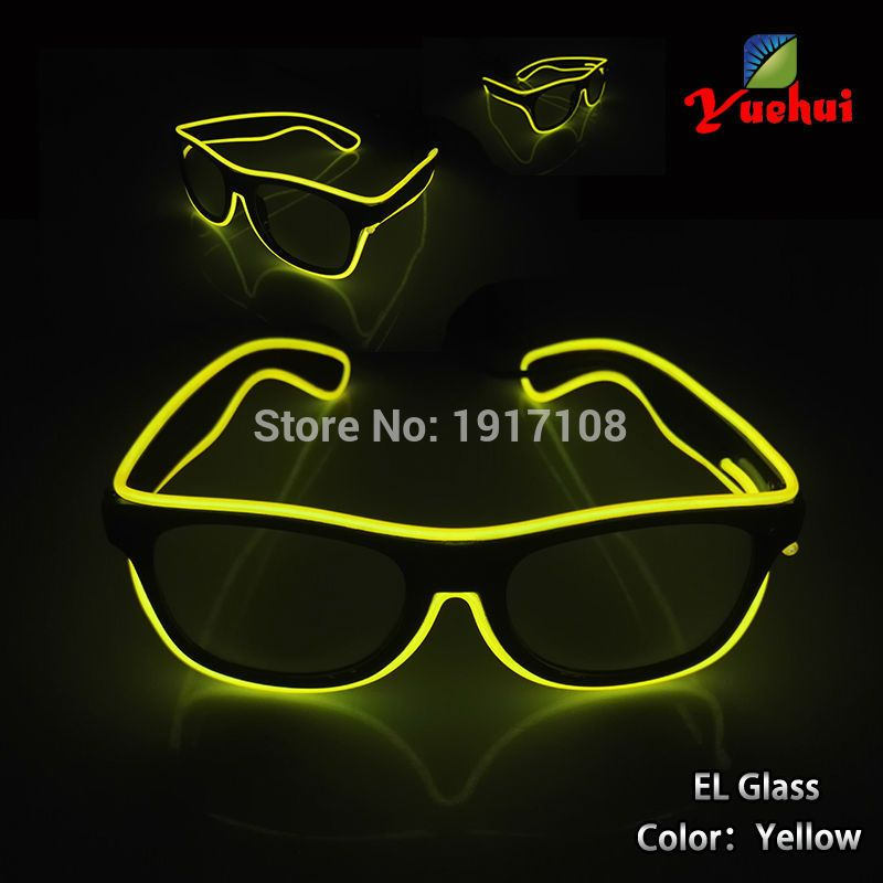 Hot 10 Color optional Fashion Sound active EL wire Sun Glasses Light ...