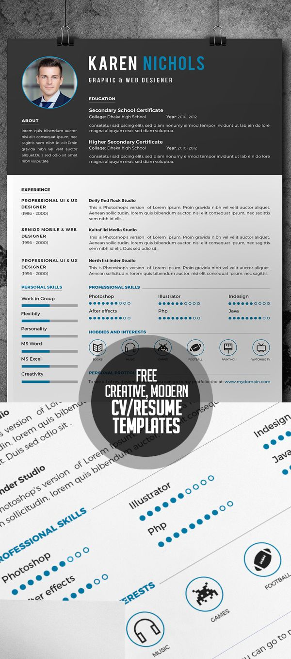 Free Creative Modern And Coporate CvResume Templates  Website