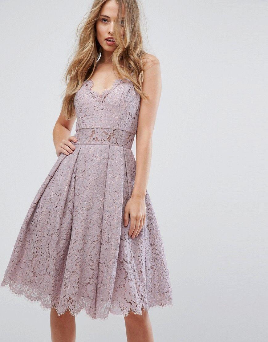 Chi chi london cami strap midi dress in premium lace purple products