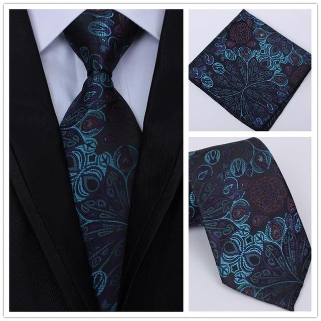 436971a69583 New Fashion Men Classic Tie Party Wedding Pocket Square Tie Paisley 8cm  Silk Woven Men Tie Necktie Handkerchief Set