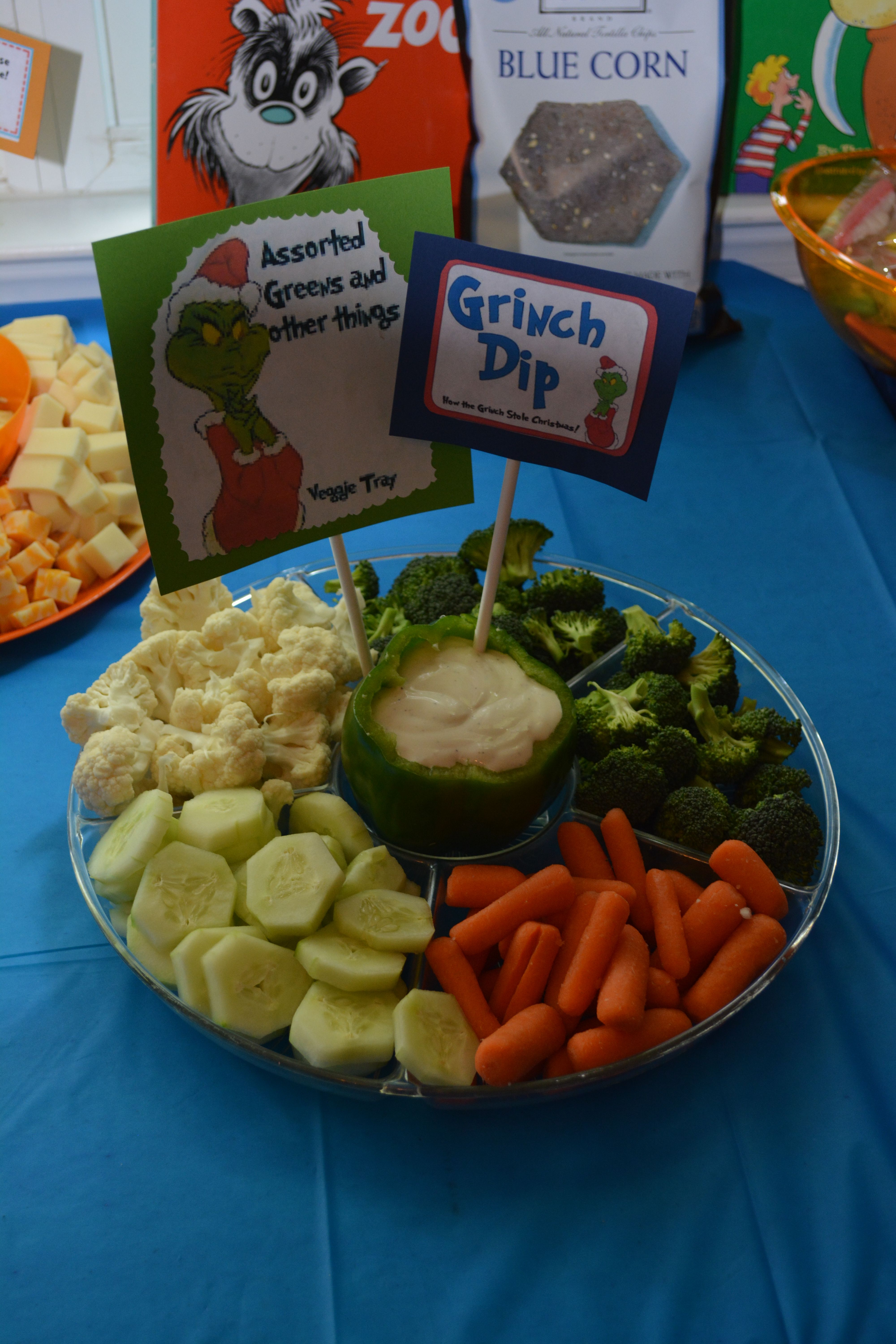 Assorted Greens And Other Things And Grinch Dip For Veggie