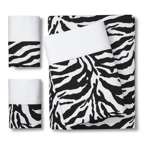 Zebra Print Sheet Set Black White Full Printed Sheets Zebra Print Striped Sheets Black and white pattern sheets
