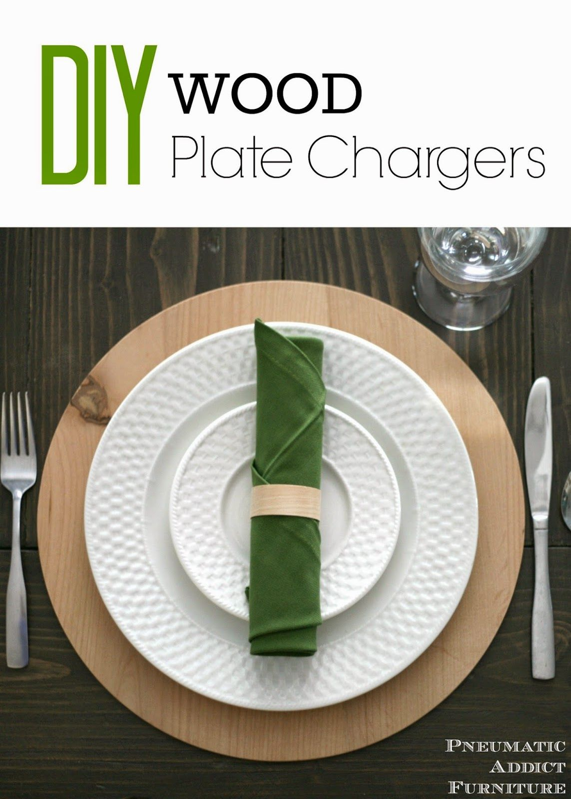 How to make your own DIY wood plate chargers. Stain them give them a coat of paint or leave them bare to suit your decor.  sc 1 st  Pinterest & DIY Wood Plate Chargers | Plate chargers Diy wood and Woods
