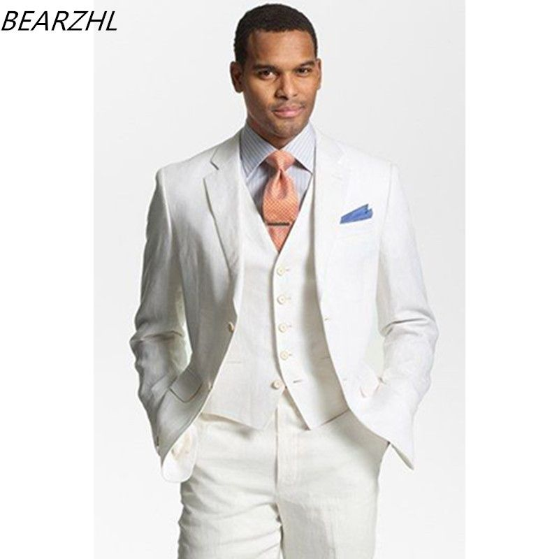 white wedding tuxedos for men suits 2017 custom made suit 3 piece ...