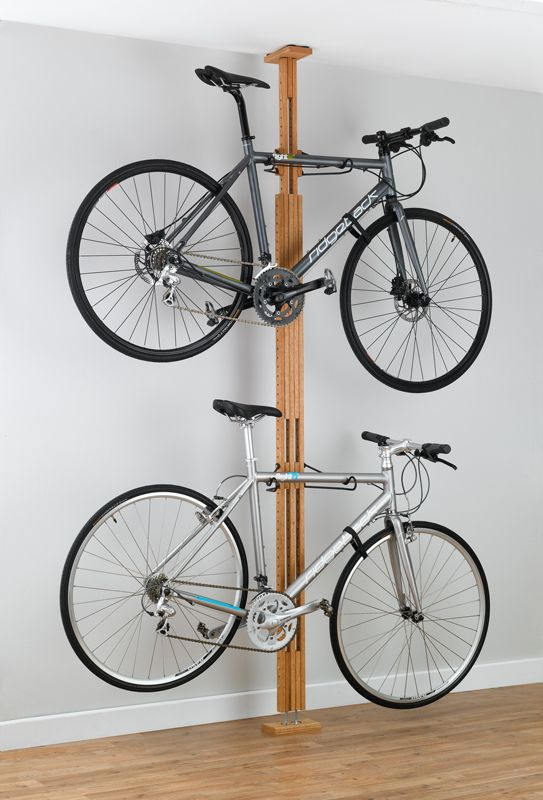 A High End Wooden Pressure Mount Bike Rack For Apartments Dorms And Rentals