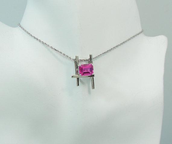 PENDANT 14K White Gold Pink Topaz, Rose Topaz, Pink Gemstone, Rose Gemstone Pendant, Pink Rose Necklace, Rectangle Ladder style PEN14KWPTLAD