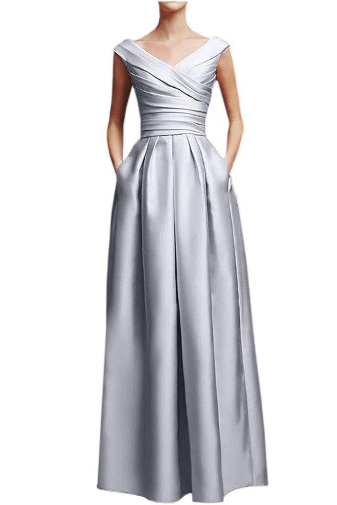 65de2a8de472ea Victory Bridal Elegant Rosa Damen Abendkleider Festliche Ballkleider  Partykleider Lang V Ausschnitt-38 Silber