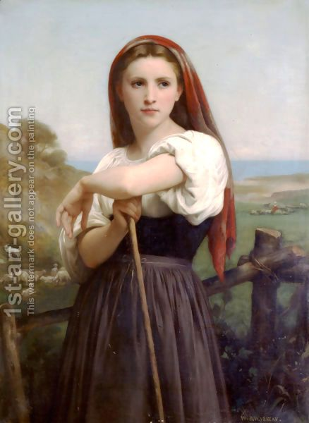 Young Shepherdess Painting By William Adolphe Bouguereau Reproduction 1st Art Gallery William Adolphe Bouguereau Art Painting Oil Painting Reproductions