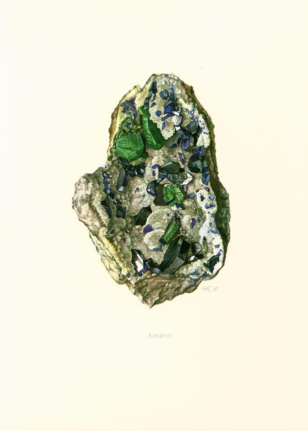 1970 Illustration Azurite Malachite. Planche Originale Pierres Precieuses Minéraux Roches Cristaux. Géologie. Décoration murale. de la boutique sofrenchvintage sur Etsy