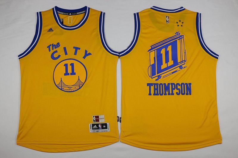 Golden State Warriors  11 Thompson Yellow Men The City 2017 New Logo NBA  Adidas Jersey 047362756