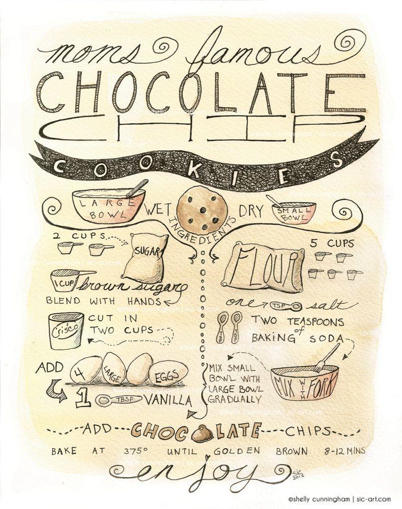 Chocolate Chip Cookie Recipe Illustration 8x10 print - kitchen decor ...