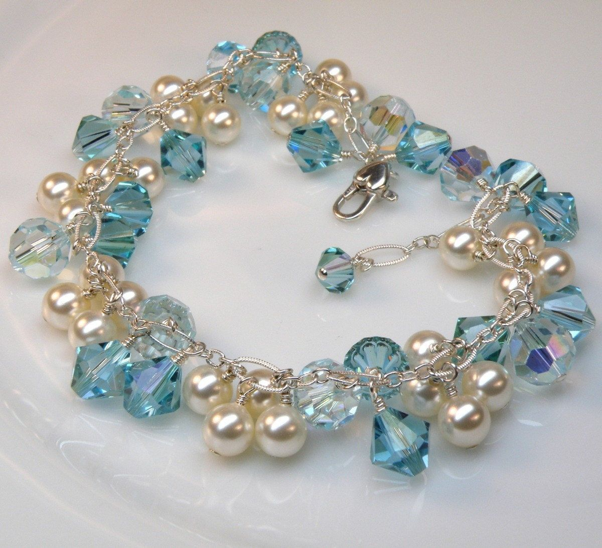 Pearl And Aquamarine Crystal Bracelet Sterling Silver Swarovski