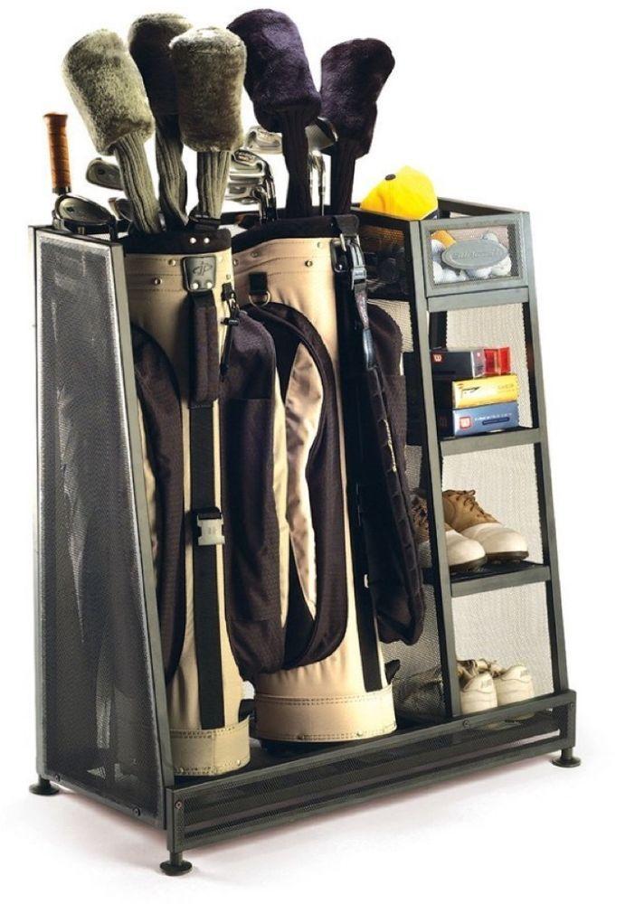 Golf Garage Organizer Club Storage Bag Stand Metal Two Bags Gear Equipment Gift