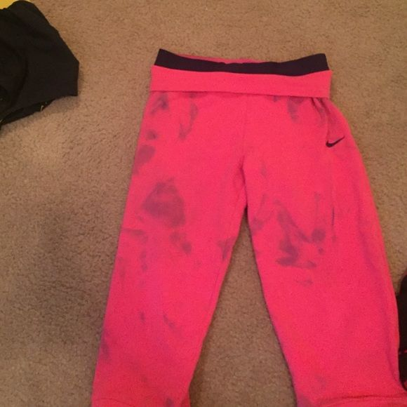 Tie dye Nike crop pants Pink and purple died dri fit Nike cropped pants. ***Youth large. Fits women's small/medium. Worn twice! Nike Pants