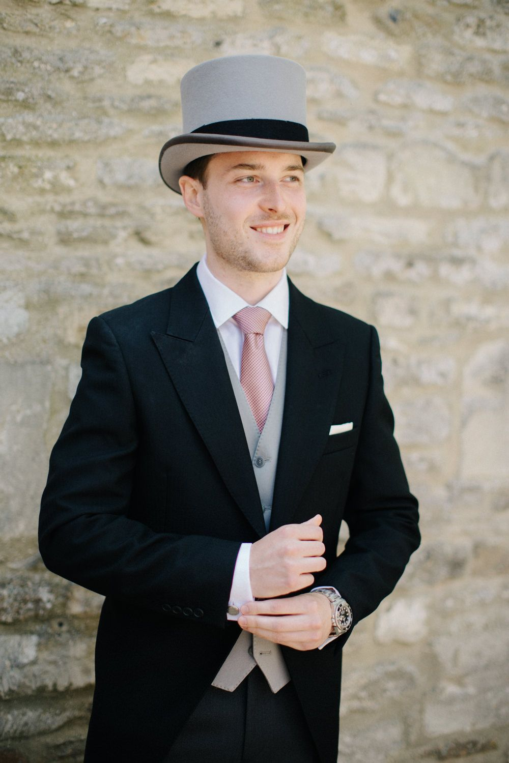 Groom On Top Hat Tails Morning Suit Outdoor Pastel Country Garden Wedding At Barnsley