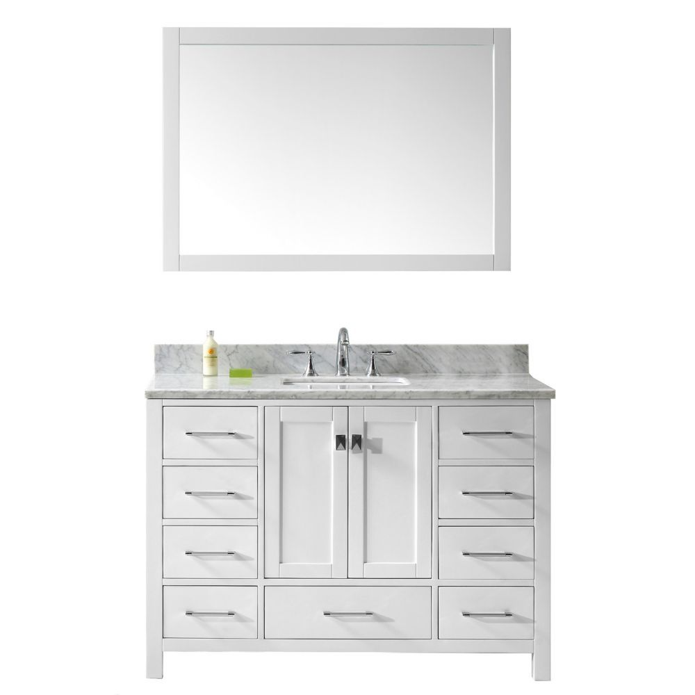 Caroline Avenue 48 Inch Single Vanity In White With Marble Top