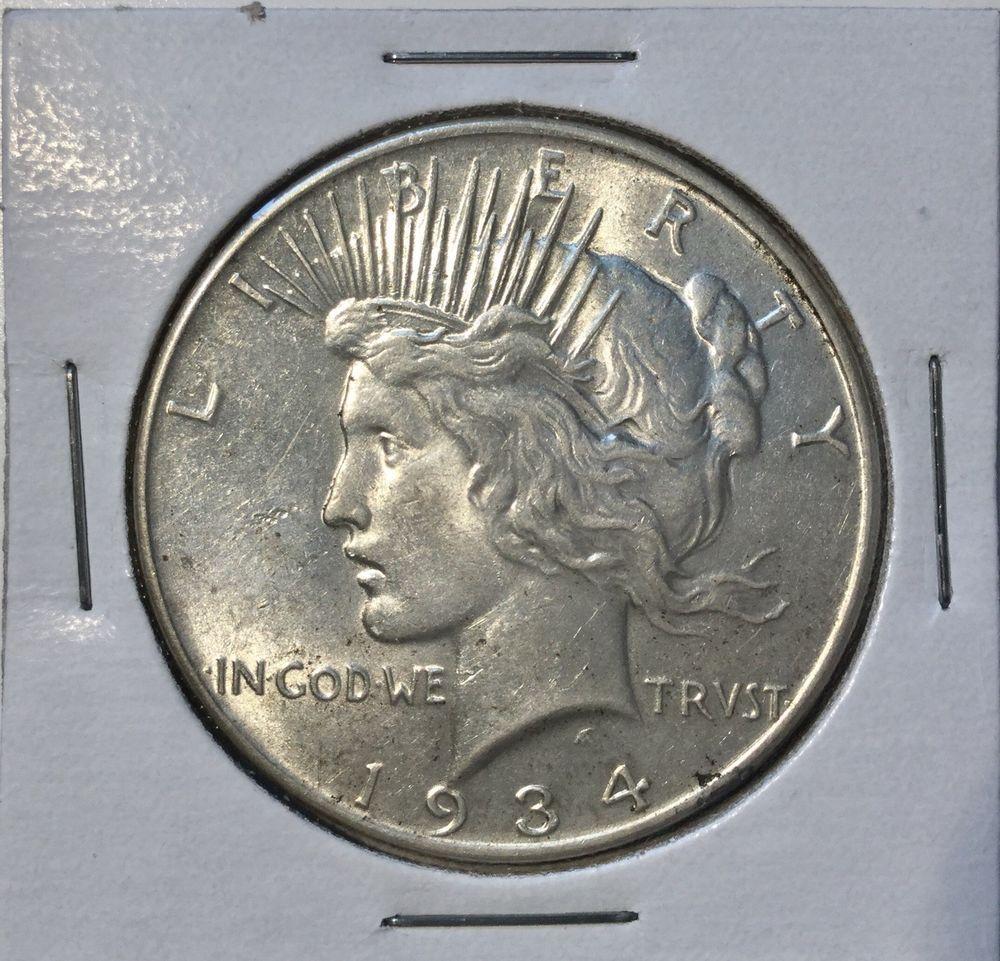 Coins 1934 1 Peace Dollar Philadelphia Mint U S Silver