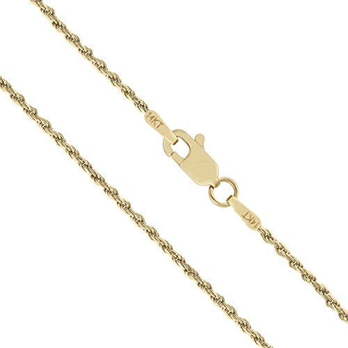 14k Solid Yellow Gold 1mm Rope Chain Necklace 20 Inches You Can Find Out More Details At Th Womens Jewelry Necklace Chain Necklace Womens Gold Rope Chains