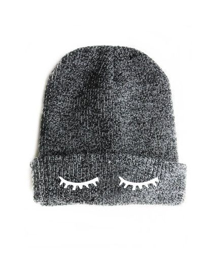 Sleepy Eyes Beanie Grey Sleeping Closed Eyes Lashes Beanies Hat Cap  KYOUSTUFF 88560fa72054