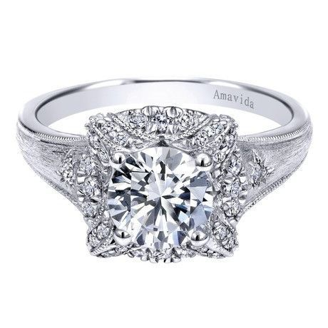 Gabriel & Co 18K White Gold 0.19 ct Diamond Halo Engagement Ring Setting ER10417W83JJ