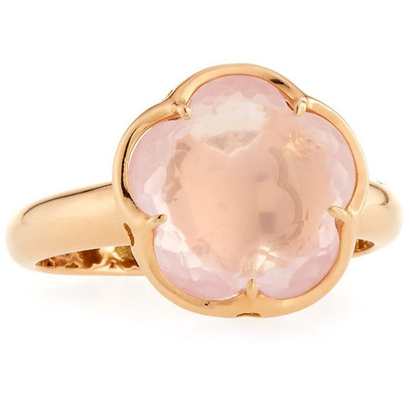 Pasquale Bruni Bon Ton Pink Quartz Flower Ring in 18K Rose Gold ($1,560) ❤ liked on Polyvore featuring jewelry, rings, rose gold jewelry, pink jewelry, pink rose gold ring, pink gold jewelry and flower band ring
