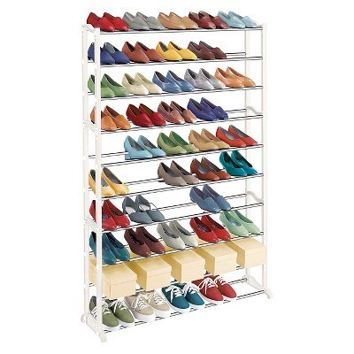 Lynk 50 Pair Shoe Rack 10 Tier Shoe Shelf Organizer White In 2020 50 Pair Shoe Rack Shoe Rack Shoe Rack Organization