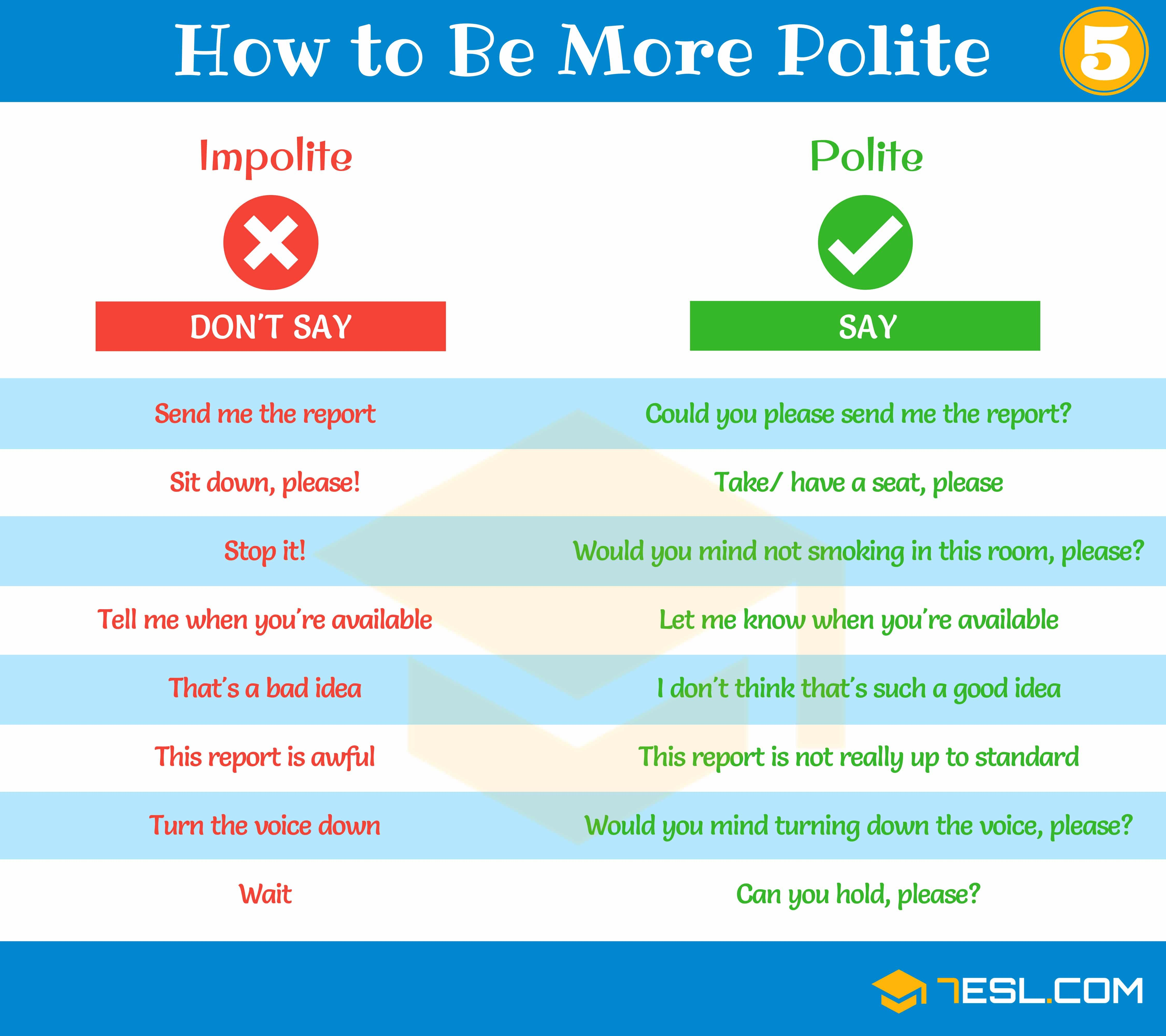 How To Be Polite Useful Phrases For Speaking Polite