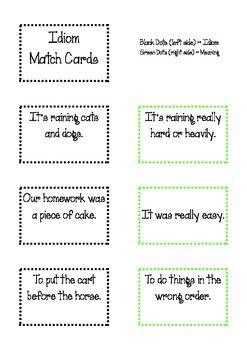 54 Idiom Match Cards Teaching language arts, Classroom