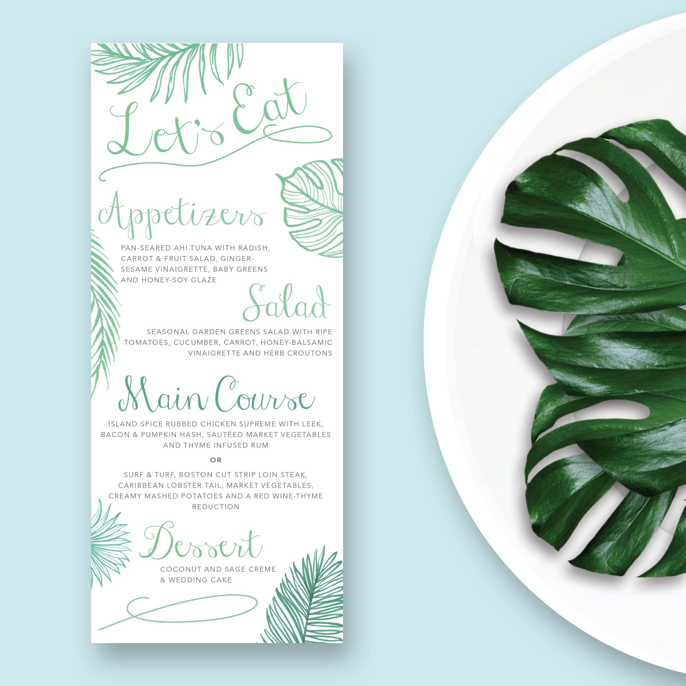 Comfort Food Wedding Menu: Palm Leaves Wedding Food Menu Tropical Wedding Menu Card
