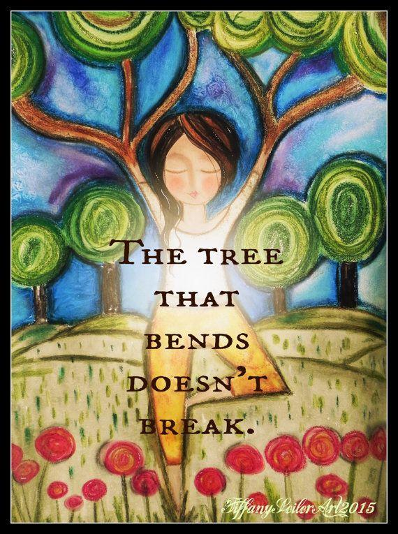 TREE pose yoga ART 5x7 art card. by Southendgirlart on Etsy