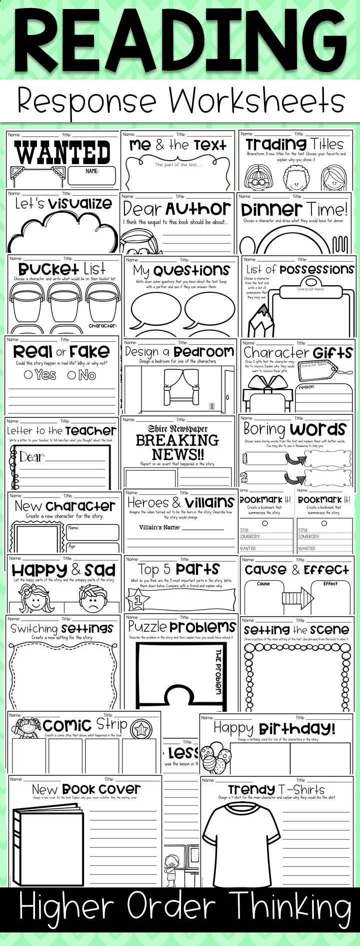 worksheet Reading Response Worksheets teach your child to read higher order thinking reading response worksheets get kiddos creativity flowing with this hots read