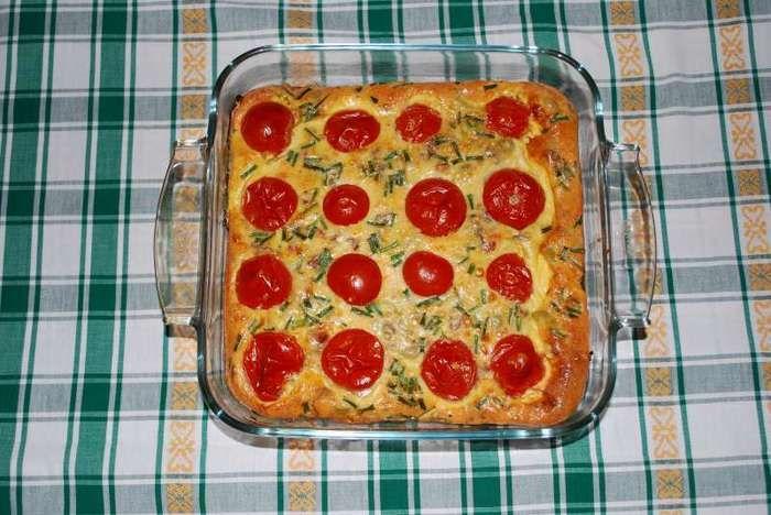 Tomatenclafoutis met Brugse Blomme en gerookt spek, door Greta V