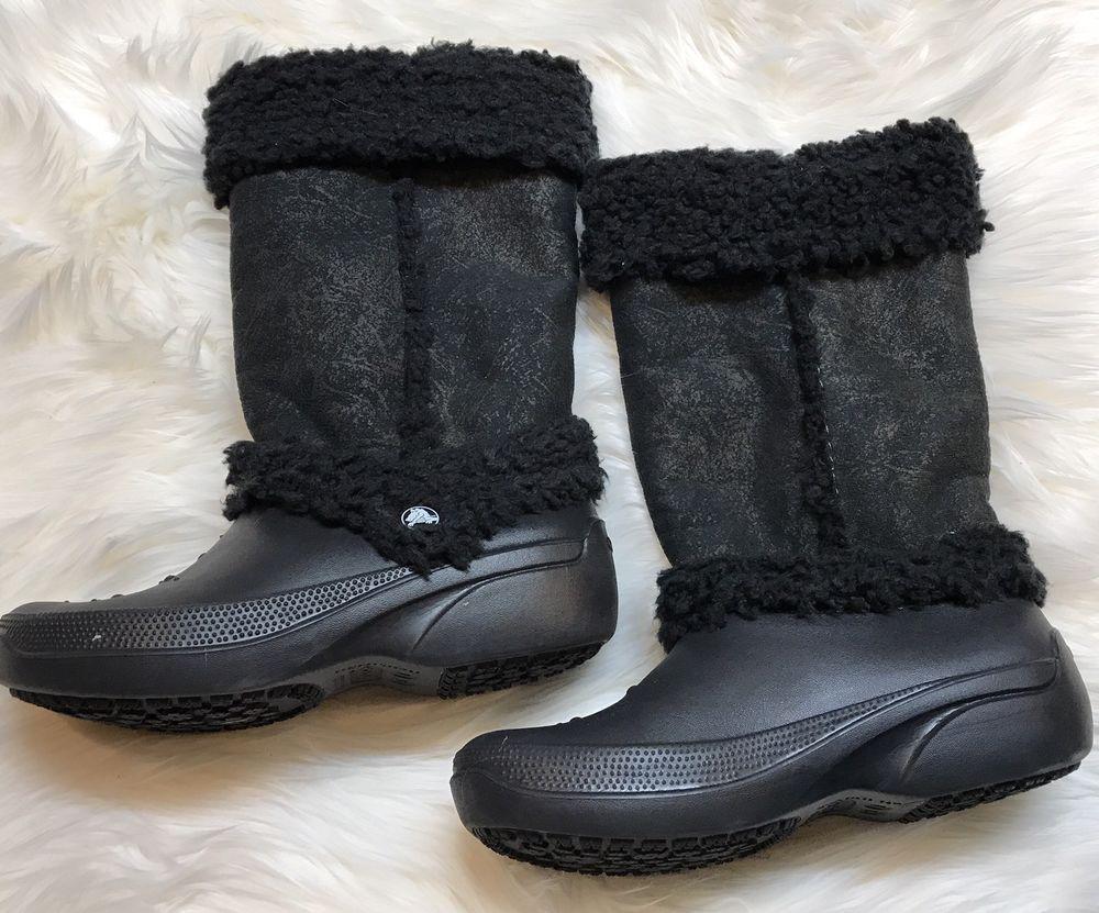 4fb2a7ed032929 Crocs Nadia Black Mid Calf Winter Boots Women s Size 7 Faux Fur ...