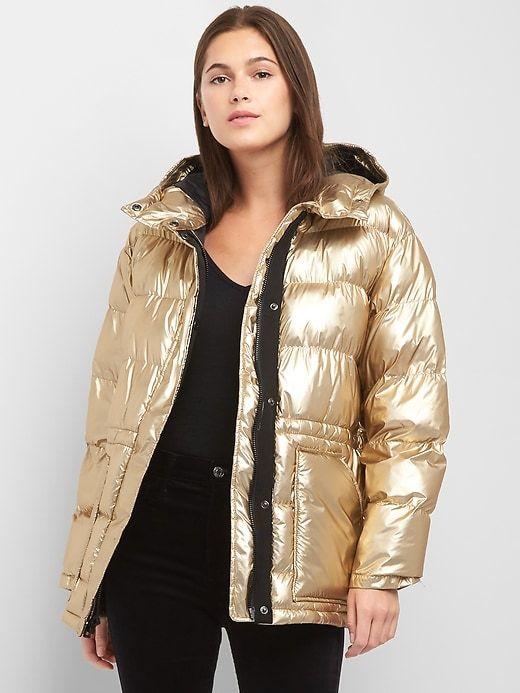 Gap Womens Coldcontrol Max Oversize Metallic Puffer Jacket
