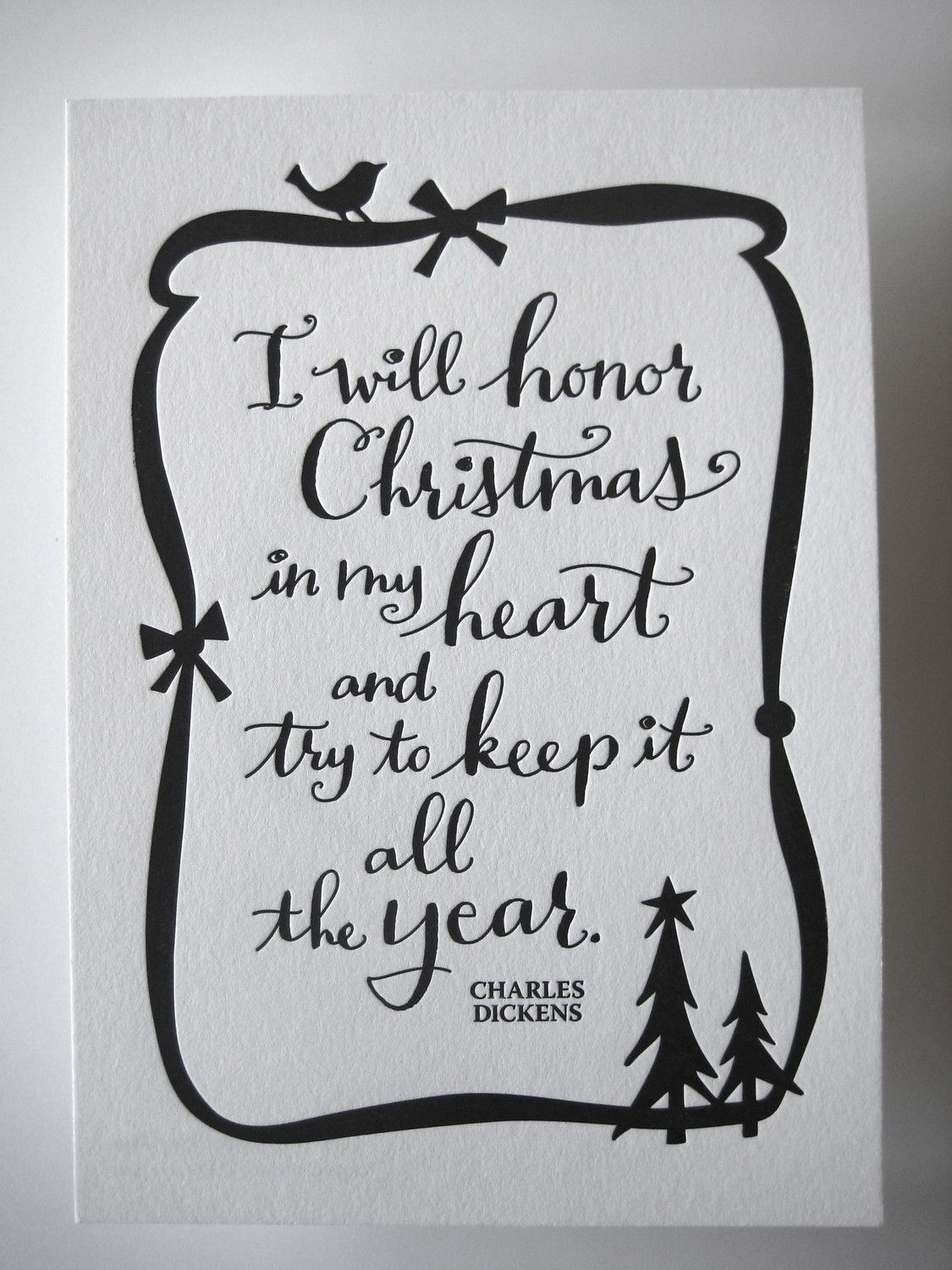 LETTERPRESS ART PRINT- I will honor Christmas in my heart and try to ...