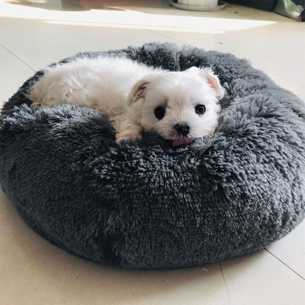 Soft Long Plush Cat Bed Mat Kennel Pet Round Plush Cat Bed
