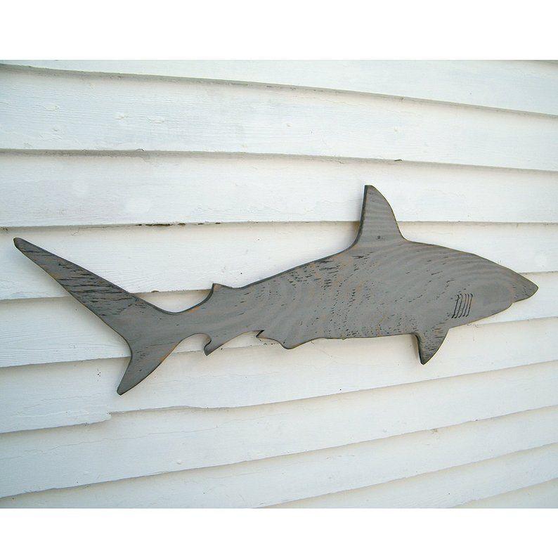 Wood Shark Sign Medium Wall Art Mako Shark Sign Beach House Decor