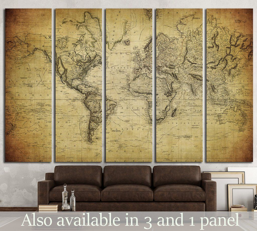 vintage map of the world №1324 Canvas Print | Vintage maps, Wrapped ...