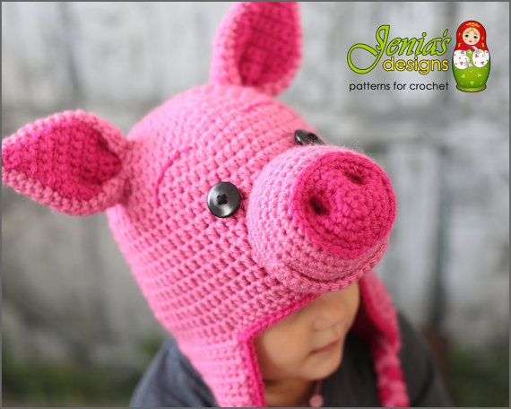 Crochet Pig Animal Hat Pattern for Baby 75ea79a2878