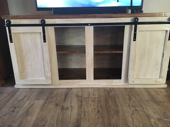 Farmhouse Style Sliding Barn Door Tv Stand Rustic Tv Stand