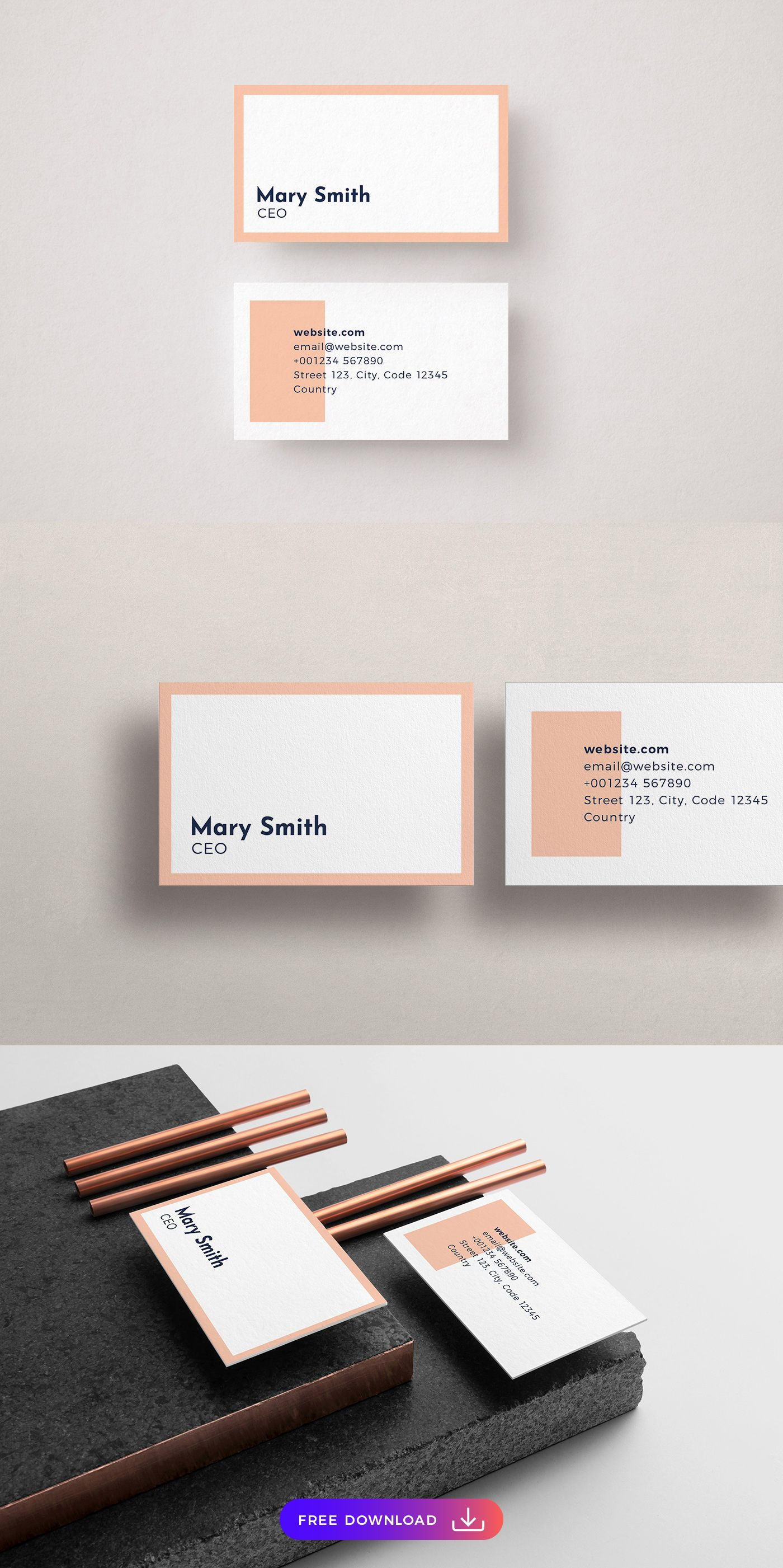 Free Pink Simplistic Business Card Template Free Business Card Templates Free Business Cards Business Card Template