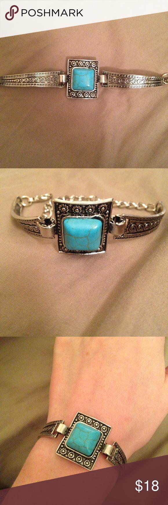 Beautiful square bracelet w engraved silver turquoise bracelet