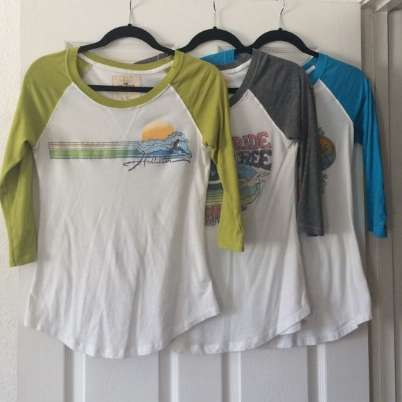 Baseball style t-shirts 3 shirts in a bundle all with different colors and pics. on the front. 3/4 length sleeves Hollister Tops Tees - Long Sleeve