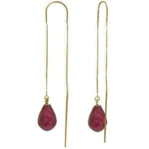 14K Solid Gold Threaded Dangles Earrings Ruby - 3940