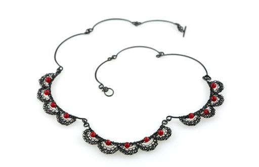 Necklace crocheted from oxidised silver wire
